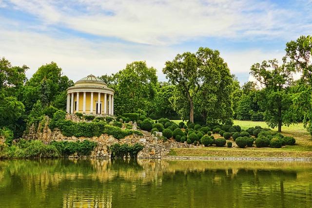 Architecture, Nature, Leopoldinen Temple, Pond