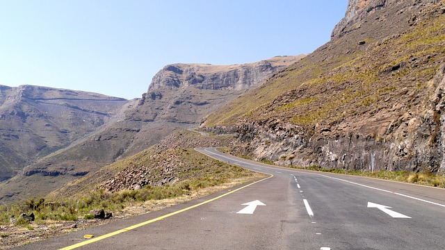 Lesotho, Mountain Landscape, Pass, Mountain Road