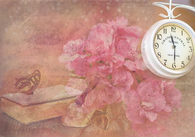 Lettering, Clock, Flowers, Book, Bell, Butterflies