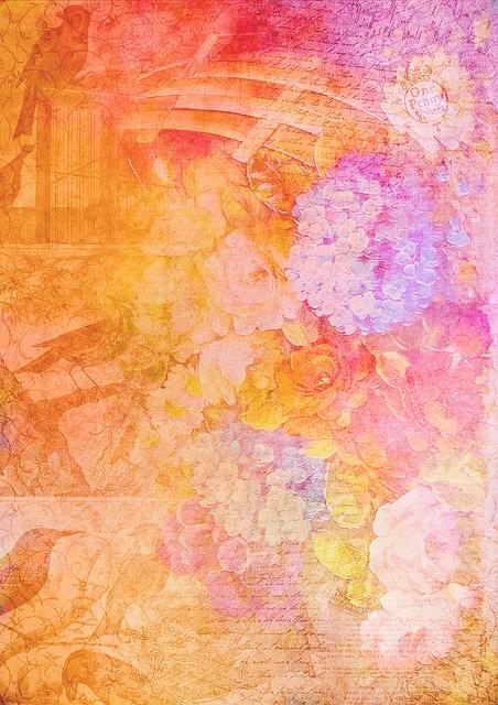 Floral, Texture, Letters, Scrapbook, Vintage, Card