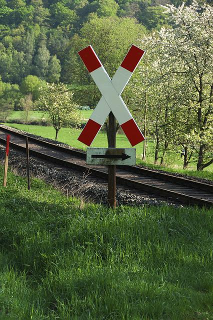 Level Crossing, Road Sign, Gleise, Warnkreuz
