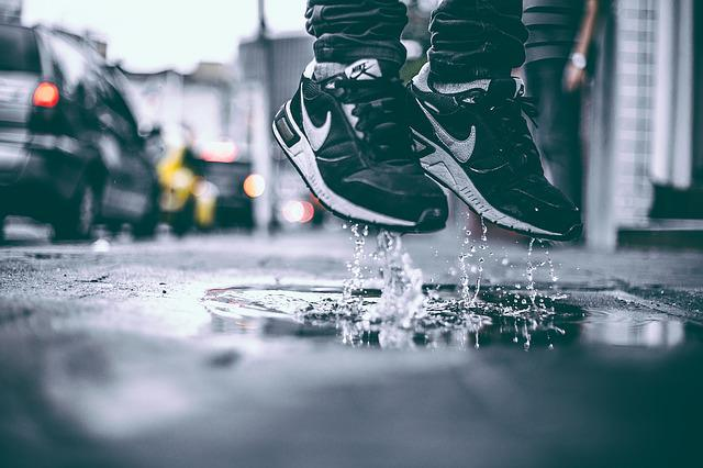 Jump, Puddle, Water, Wet, Boy, Levitate, Sneakers