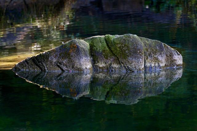 Rock, Water, Moss, Lichen, Mirroring, Light, Mystical