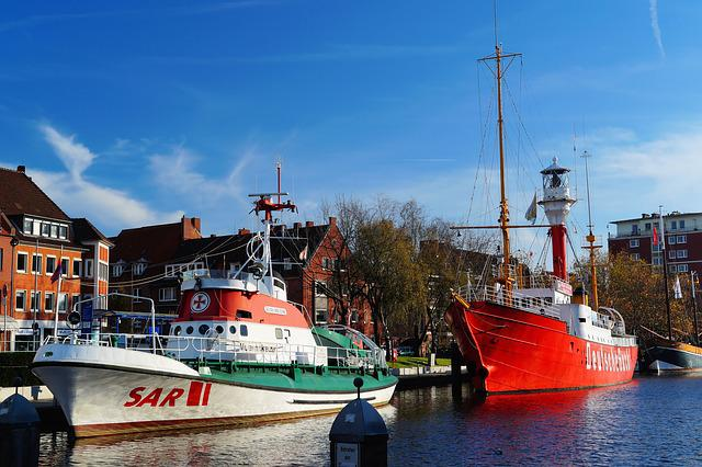 Port, Emden, City, Lifeboat, Fire Ship, Idyllic