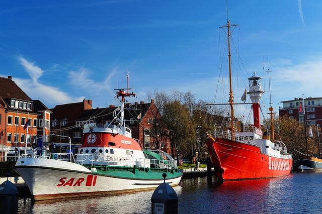 Port, Emden, City, Lifeboat, Fire Ship, Idyllic