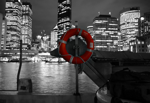 Lifesaver, Safety Buoy, Life-saver, City, Night, Water