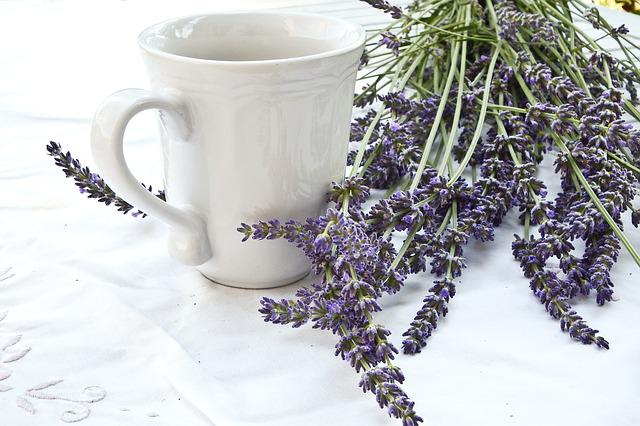 Lavender, Cup, Tablecloth, Lifestyle, Blue, White
