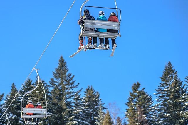 Ski Lift, Skis, Skiers, Mountains, Winter, Lift Chair