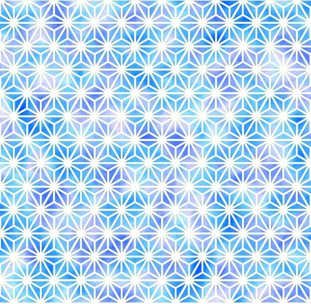 Traditional Patterns, Hemp Pattern, White, Light Blue