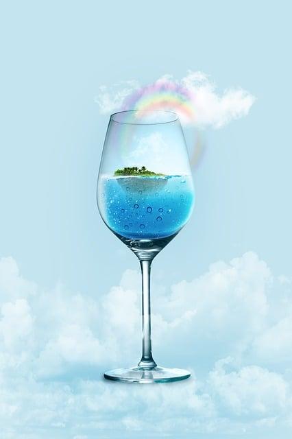 Wine Glass, Glass, Water, Holiday, Island, Light Blue