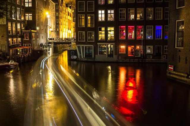 Amsterdam, Canal, Night, Light, Reflections, Motion