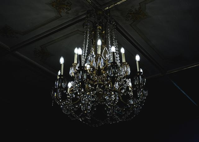 Chandelier, Dark, Decoration, Glass, Illuminated, Light