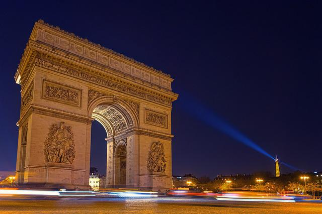 Paris, Arc De Triomphe, Night, Eiffel Tower, Light
