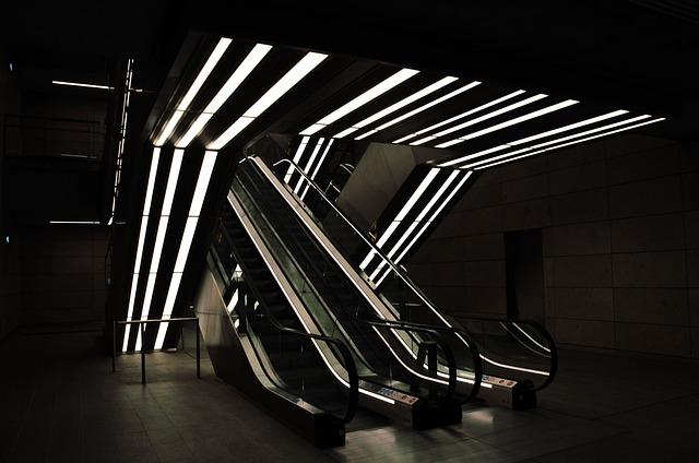 Escalator, Subway, Metro, Copenhagen, Light, Contrast