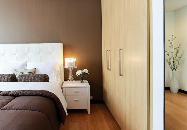 Bed, Bedroom, Closet, Furniture, Lamp, Light, Table