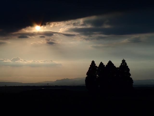Sunset, Light, Sky, Japan, Kumamoto