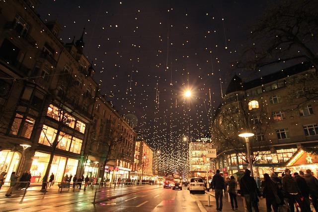 Christmas, Light, Night View, City, Light Mens Wool