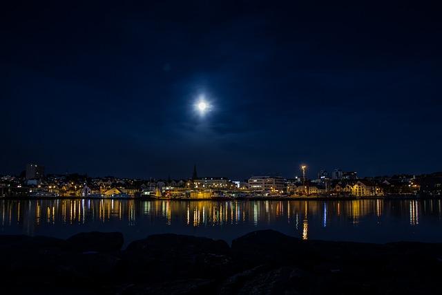 Night, Stavanger, Sea, Fjord, Outdoors, Light