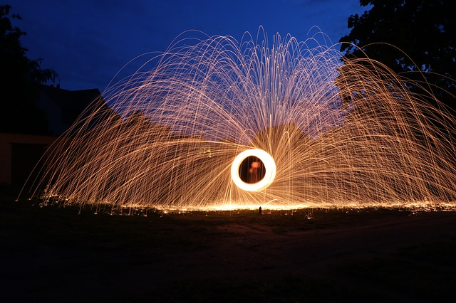 Light Painting, Steel Wool, Night, Swirl, Turn