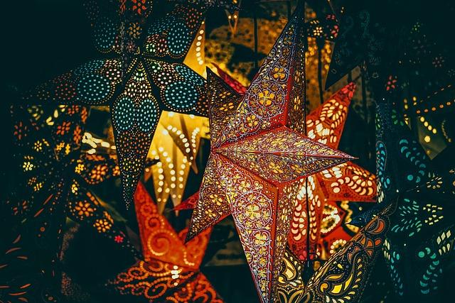 Poinsettia, Star, Light, Colorful, Color, Market