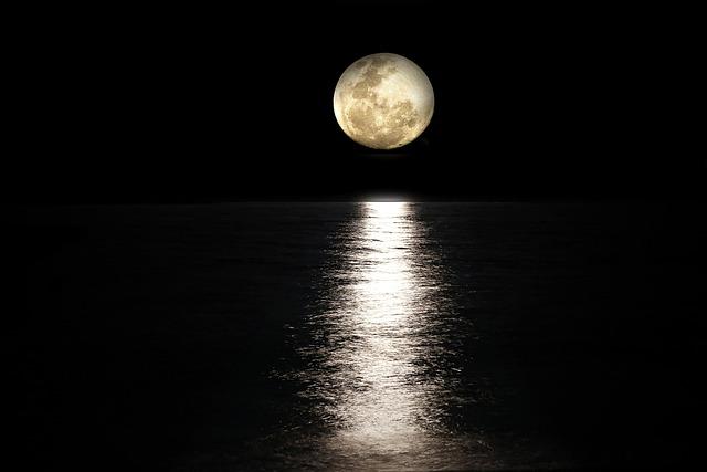 Moon, Sea, Full Moon, Light Reflections, Moonlight