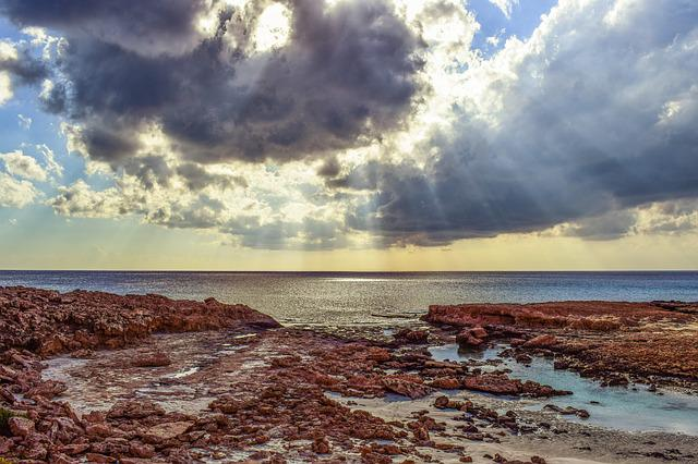 Sea, Clouds, Sunlight, Sunbeam, Light, Nature, Sky