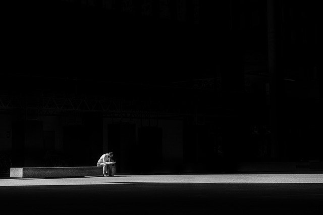 Dark, Light, Man, Person, Sitting, Alone, Solitude