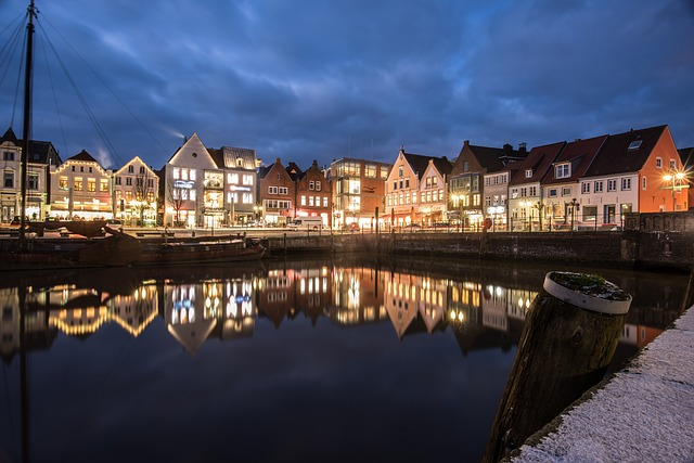 Husum, Inland Port, Port, Light Trail, Waters