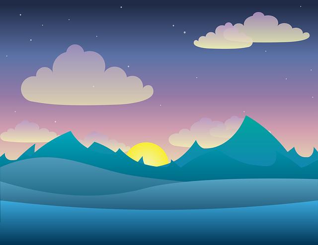 Landscape, Vector, Twilight, Light, Night, Dusk, Sky