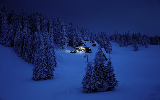 Snow, Winter, Mountains, Night, Light, Cozy, Hope, View