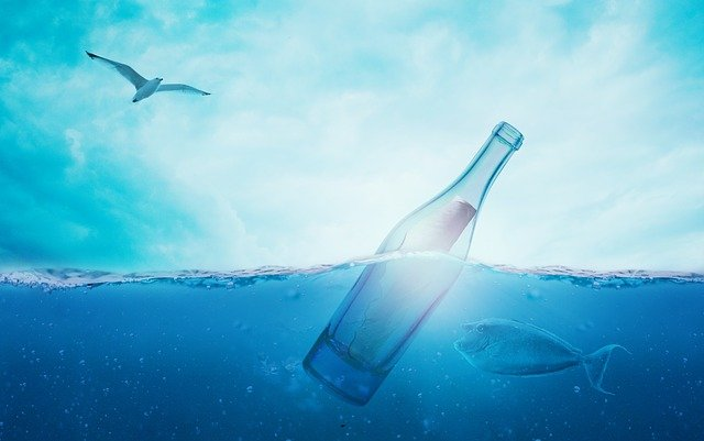 Sea, Water, Message In A Bottle, Ocean, Wave, Light