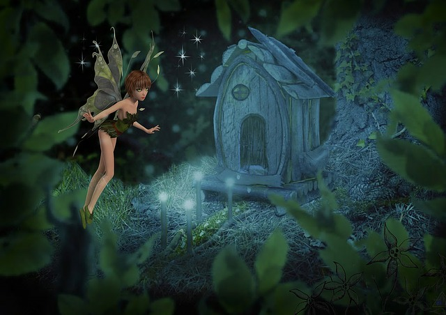 Fairy, Fantasy, Forest, Young, House, Light, Fly, Wings
