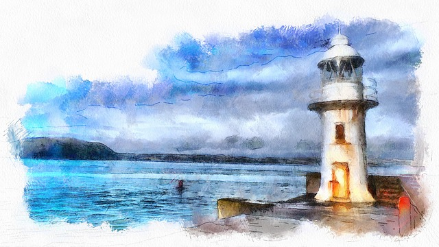Brixham, Lighthouse, Seaside, Watercolour, Devon