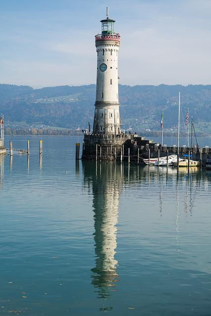 Lighthouse, Lindau, Lake Constance, Port, Water