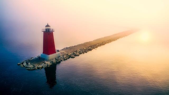 Manistique, Michigan, Lighthouse, Sunrise, Fog, Jetty