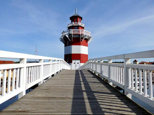Lighthouse, Access, Bridge, Rheinsberg, Marina
