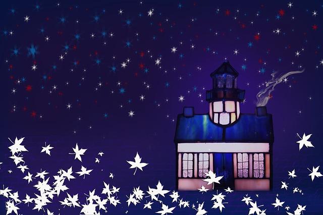 Christmas Postcard, Lighthouse, Night