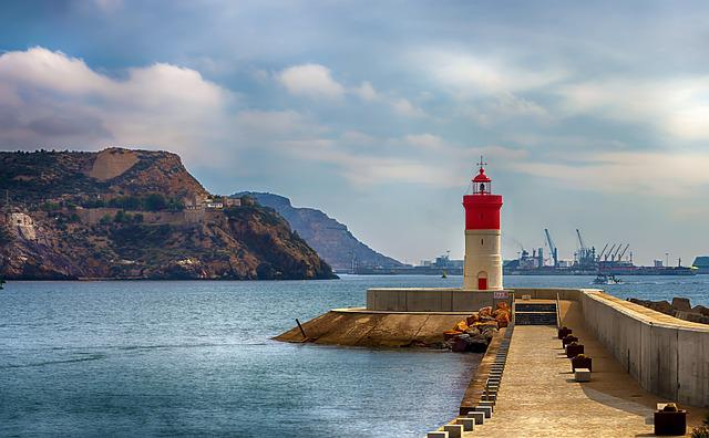 Lighthouse Christmas Cartagena Murcia, Lighthouse, Port