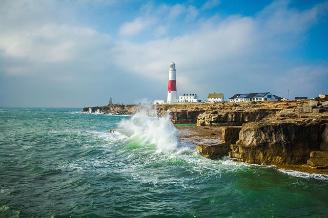 Lighthouse, Ocean, Waves, Portland, England
