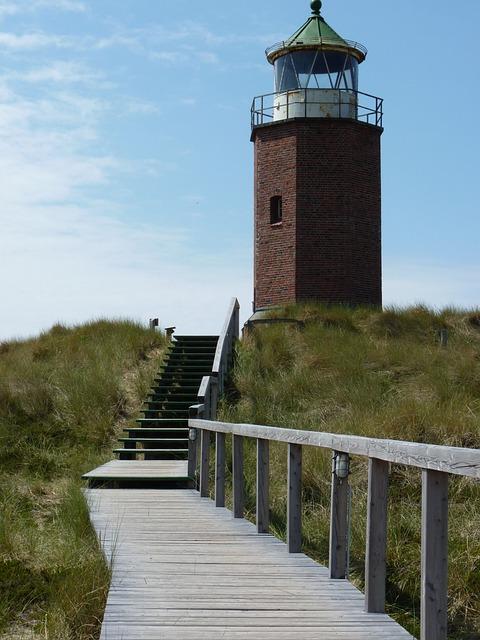 Lighthouse, Sylt, Sun, Clouds