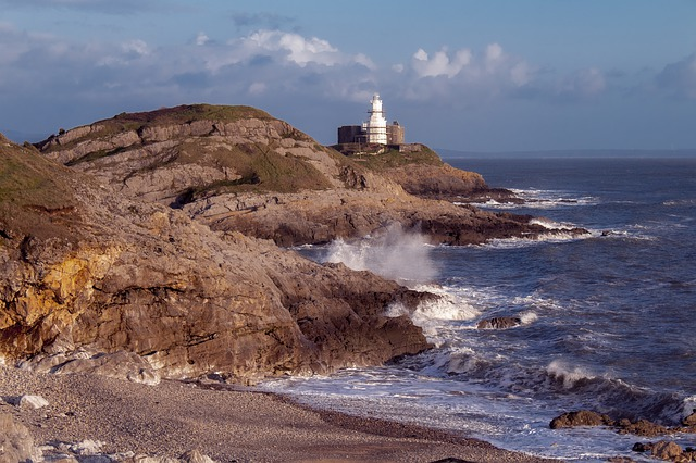 Lighthouse, Mumbles, Coast, Swansea, Wales, Water, Sea