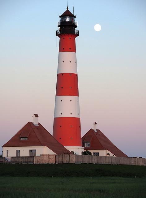 Lighthouse, Westerhever, Full Moon, Nordfriesland
