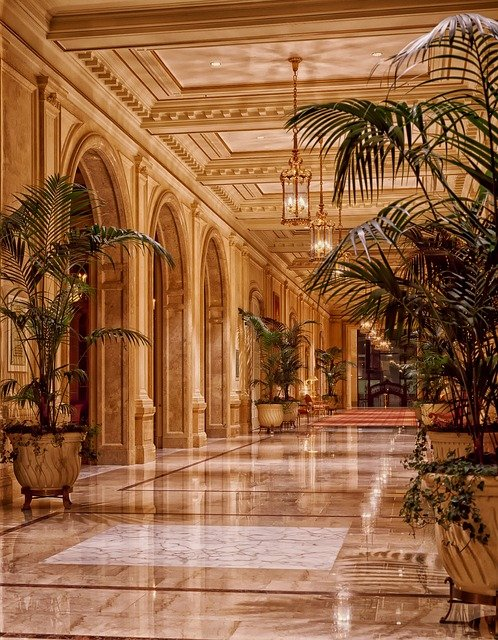 Lobby, Hotel, Interior, Hallway, Lights, Lighting