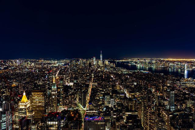 New York, Night, Skyline, City, Lighting, Manhattan