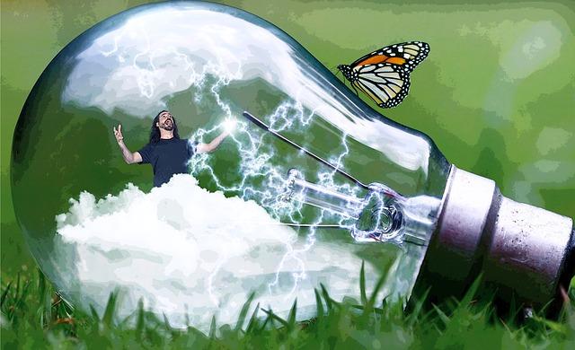 Lamp, Man, Funny, God, Clouds, Lightning, Thunderbolt