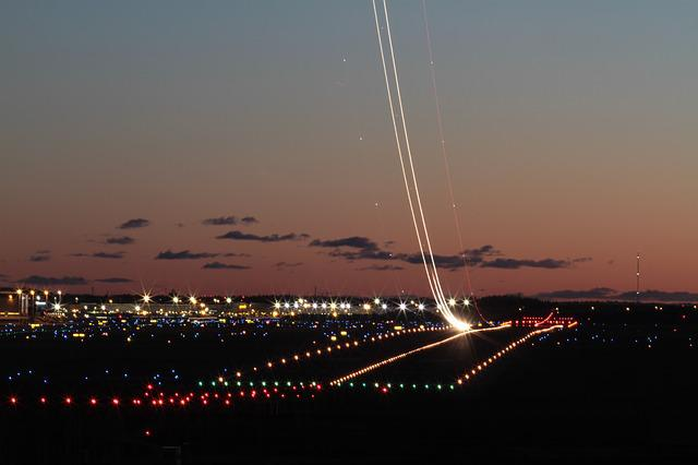 Machine, Take Off The, Rise, Night, Lights, Airport