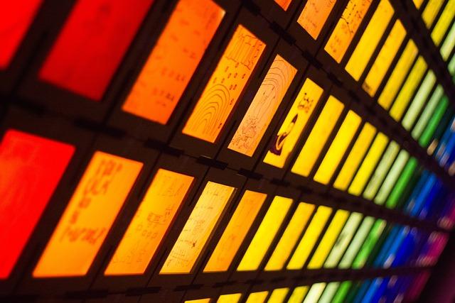 Rainbow, Lights, Art, Spectrum, Night, Squares