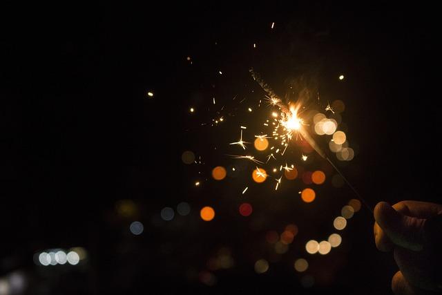 Bokeh, Dark, Lights, Sparklers