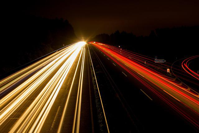 Highway, Night Photograph, Lights, Night, Lighting