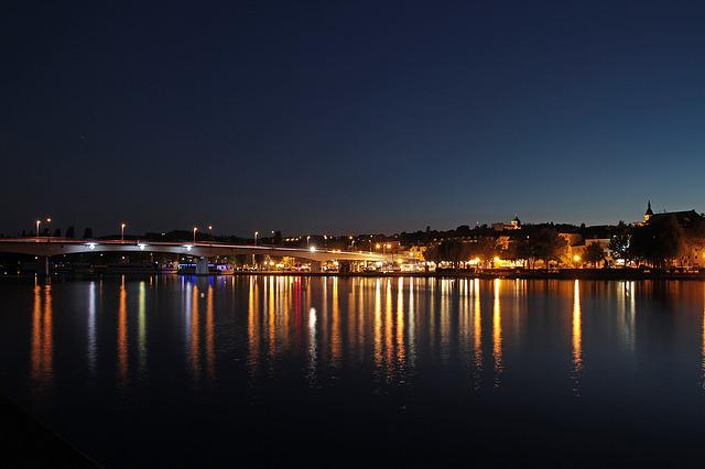 Night, Remich, Mosel, Lights, Mirroring, Summer